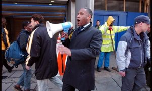 Simon Woolley of Operation Black Vote encourages black people to vote in Brixton, south London.